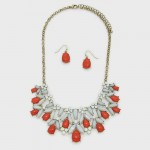 Ice Red Berry Marquise Net Bauble Necklace