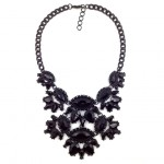 Nightscape Black Hand Painted Floral Stone Necklace