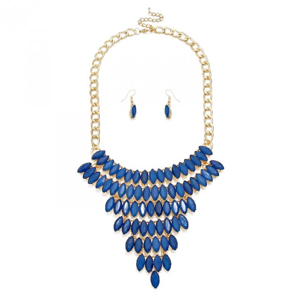 Navy Blue Marquise Stone Cascade Necklace