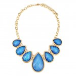 Dreamy Galaxy Sky Blue Holo Teardrop Necklace Set