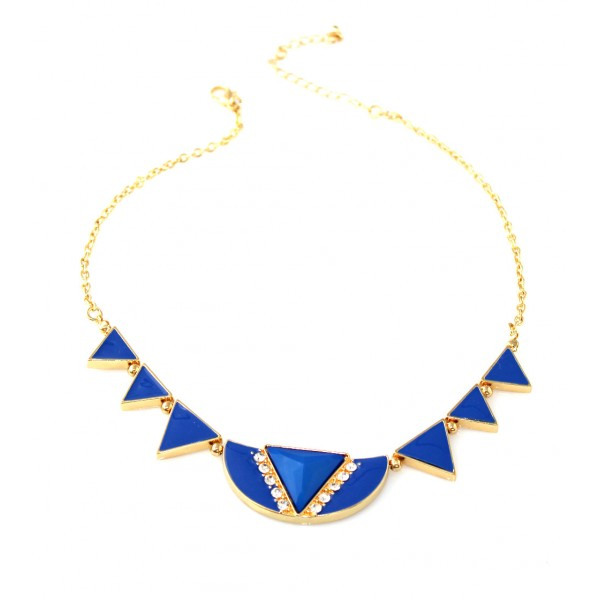 Cobalt Blue Geo Enamel Triads Necklace