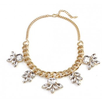Anastasia Crystal Floral Petal Glam Necklace