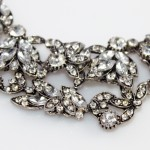 Ice Laurel White Crystal Stone Cluster Bib Necklace