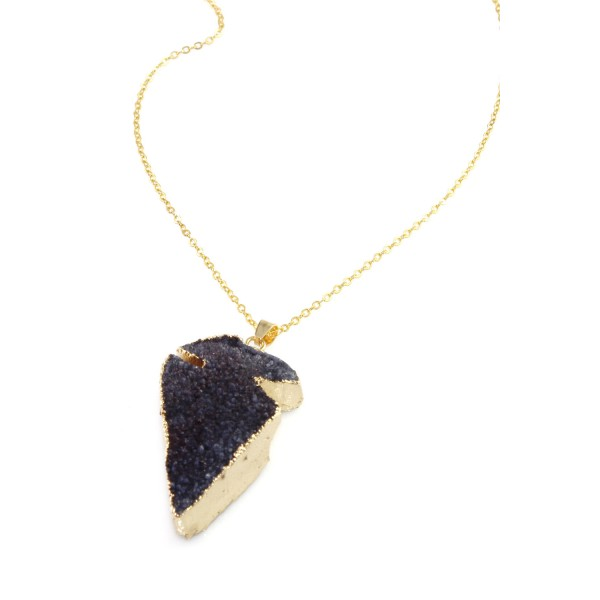 Eggplant Purple Arrow Head Druzy Stone Pendant Necklace