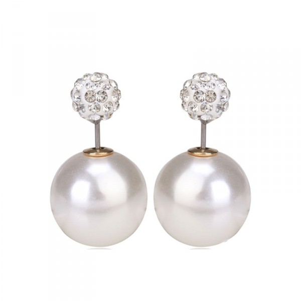 Ivory Pearl Pave Double Sided 360 Statement Earrings