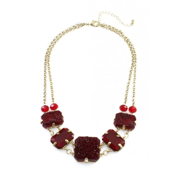 Ruby Red Druzy Glass Stones Statement Necklace