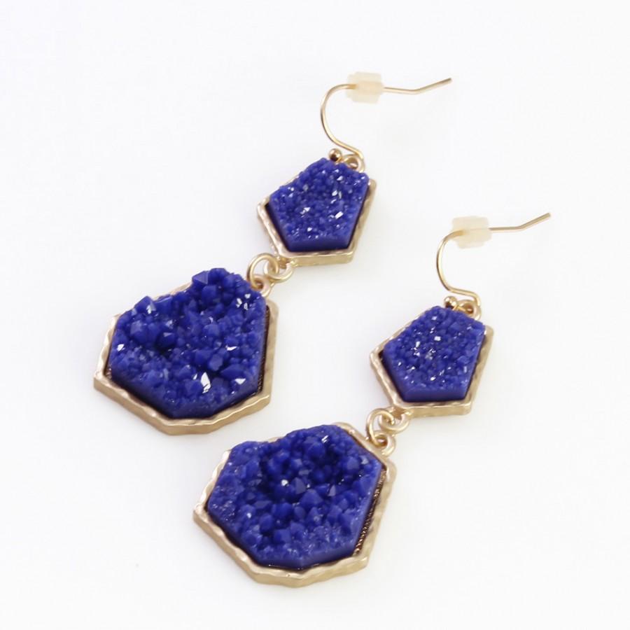 Electric Blue Geometric Druzy Stone Earrings