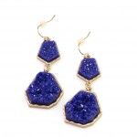 Electric Blue Geometric Druzy Stone Earrings