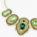 Rona Emerald Green Beaded Crystal Pendant Necklace