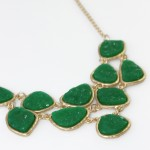 Emerald Green Druzy Stone Link Bib Necklace
