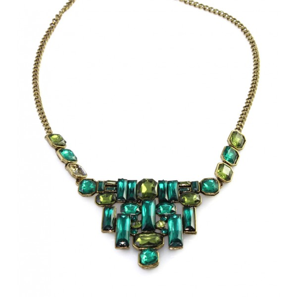 Emerald Geo Stone Mosaic Art Deco Necklace