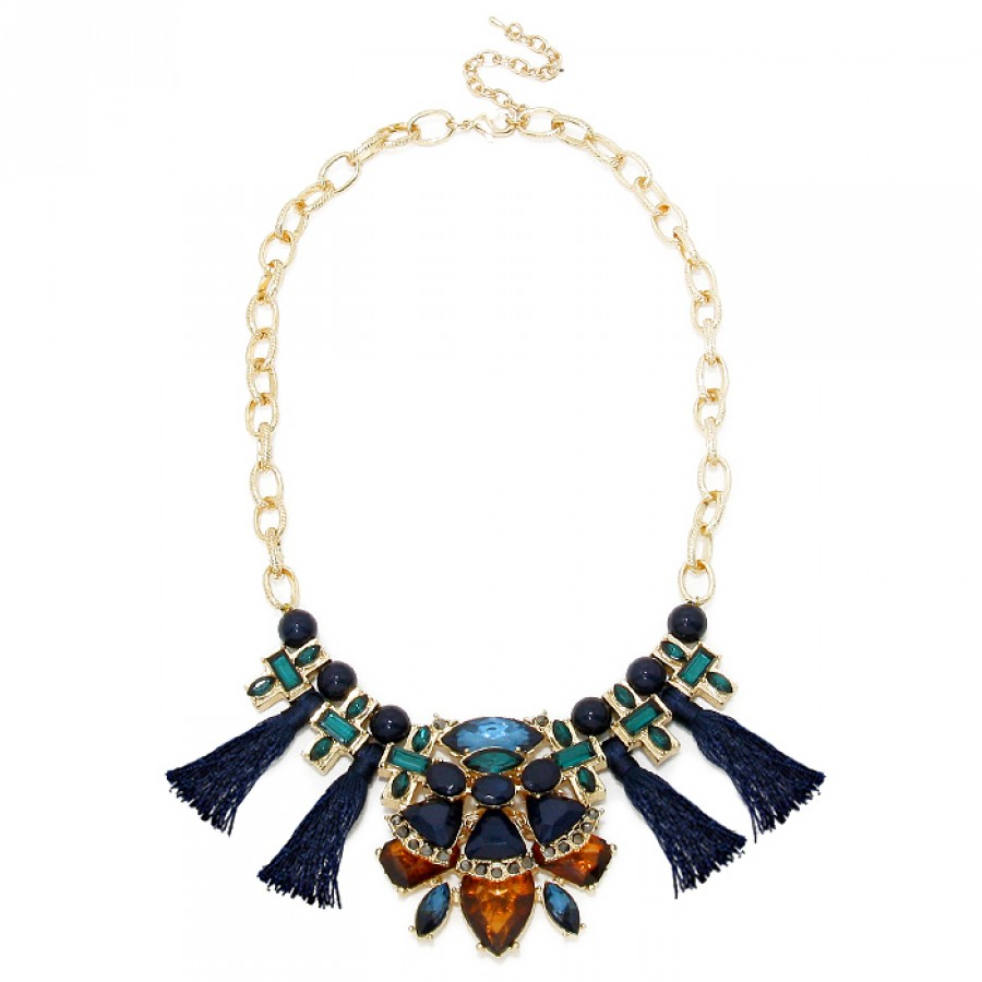 Unique Jewel Tone Blue Green Amber Art Deco Gemstone Navy Tassel Necklace EA93