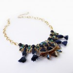 Jewel Tone Art Deco Gemstone Navy Tassel Necklace