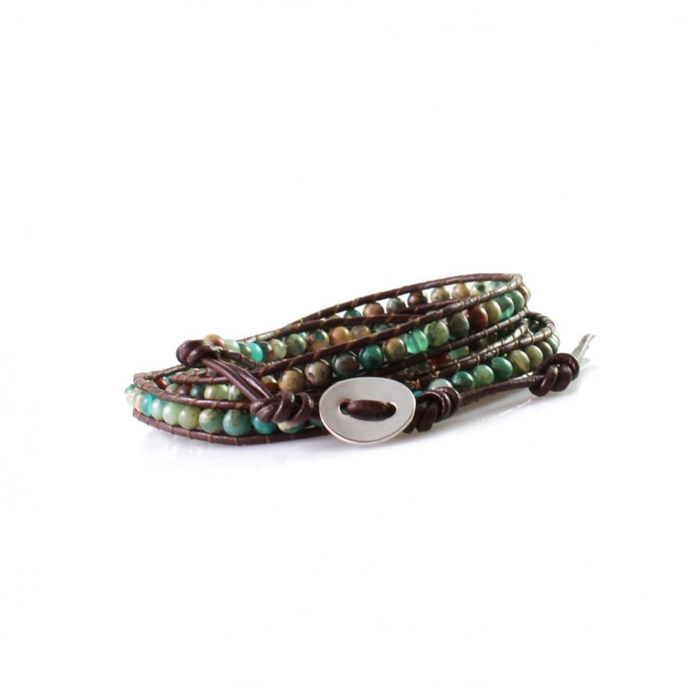 Natural Jasper Beads On Brown Leather Wrap Bracelet