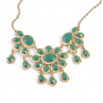 Seafoam Green Floral Stone Teardrop Necklace