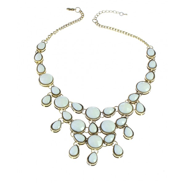 Ivory Bubble Dots & Teardrop Fringe Necklace