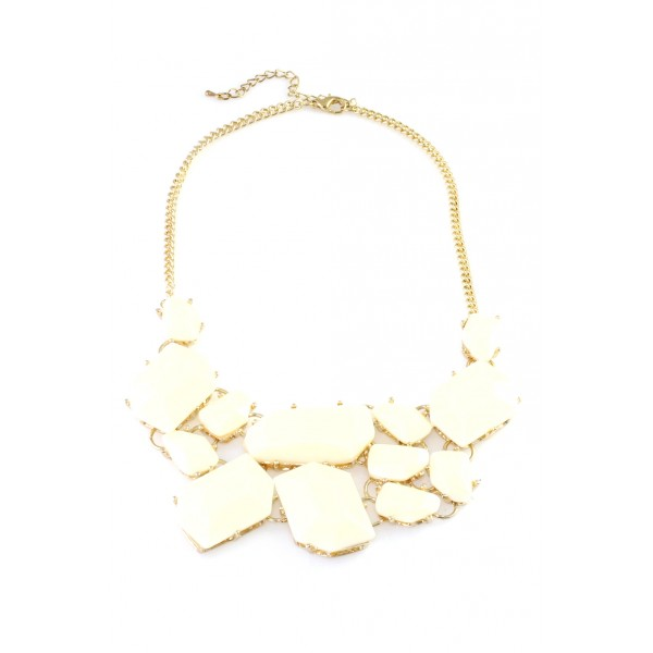 Ivory Stone Fragments Bib Necklace