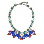 Jewel Tone Wreath Marquise Stone Statement Necklace