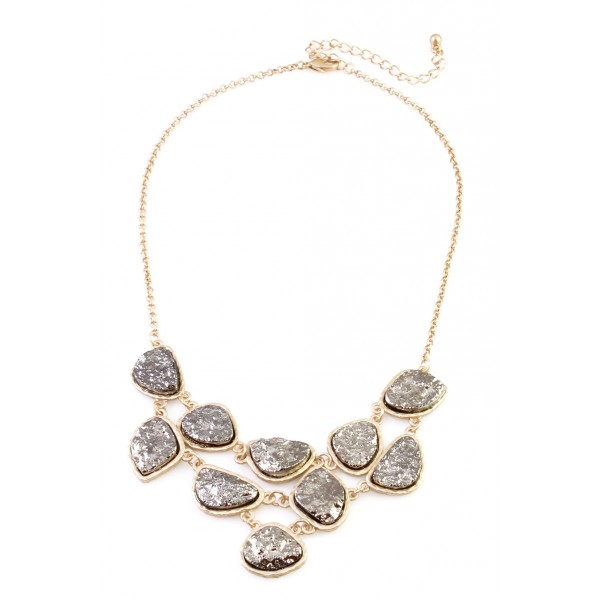 Metallic Silver Druzy Stone Link Bib Necklace