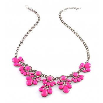 Flora Neon Pink Statement Necklace