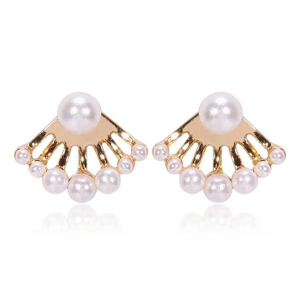 Elegant Ivory Pearls Array Ear Jackets
