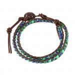 Phoenix Azurite Stone Beads on Brown Leather 2x Wrap Bracelet