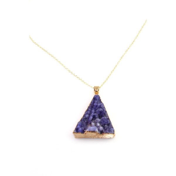 Purple Triangle Druzy Stone Pendant Necklace