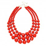 Berry Red Faceted Multi layered Pebbles Necklace