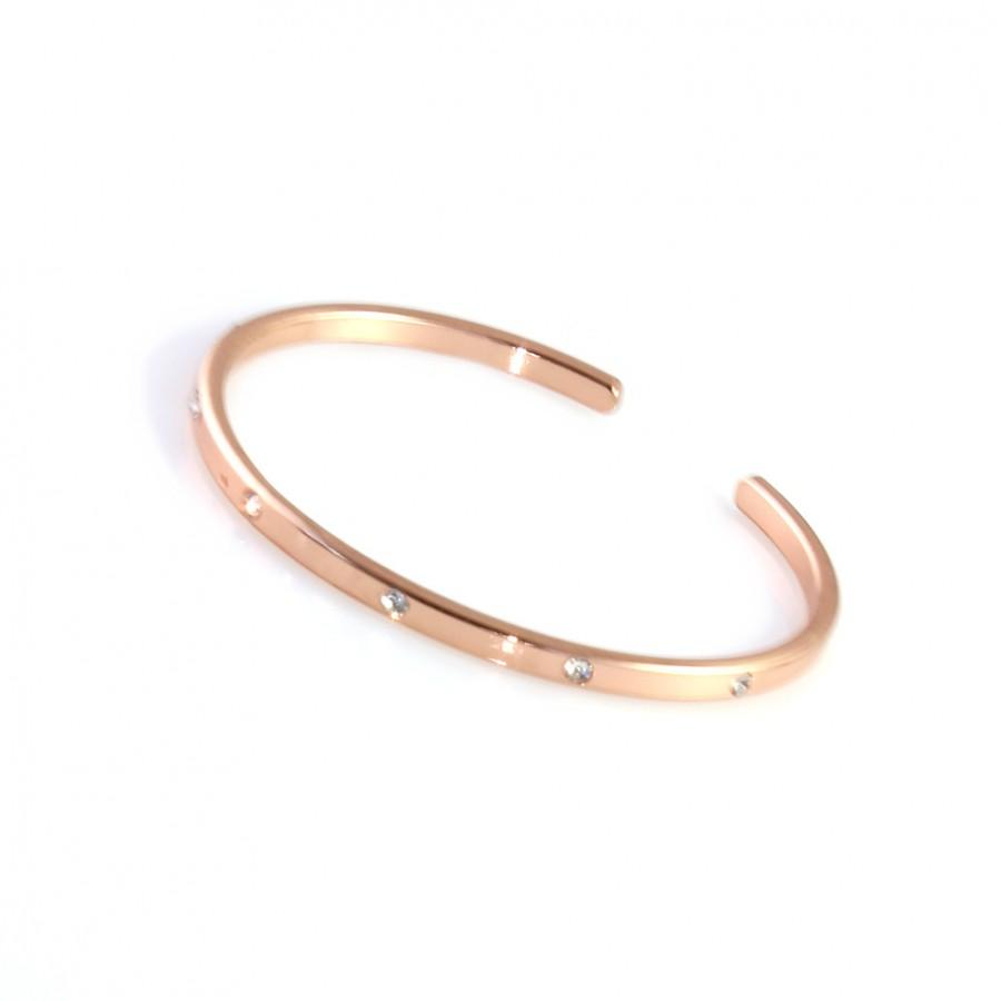 Rose Gold Crystal Inlaid Dainty Cuff