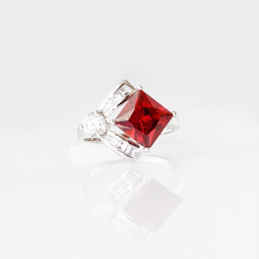 Geometric Ruby Garnet Cubic Zirconia Silver Engagement Ring