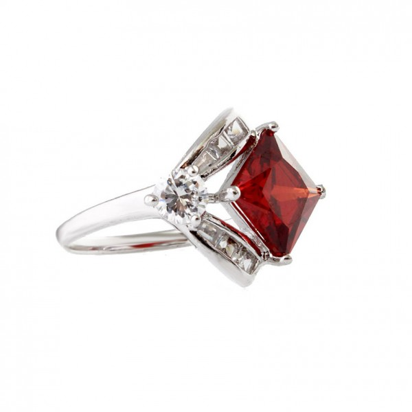 Ruby Square Crystal Cubic Zirconia Ring
