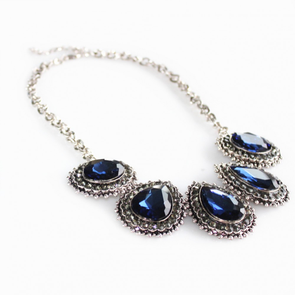 Sapphire Blue Crystal Encrusted Teardrop Statement Necklace