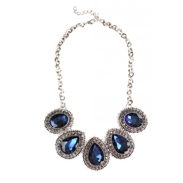 Blue Crystal Encrusted Teardrop Statement Necklace