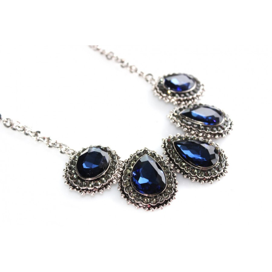 Sapphire blue crystal encrusted teardrop statement necklace blue crystal encrusted teardrop statement necklace aloadofball Images