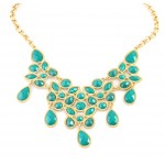 Turquoise Mosaic Geometric Statement Bib Necklace