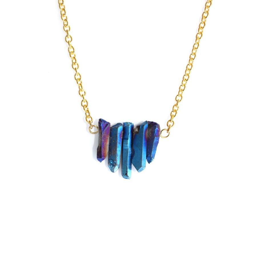 Titanium Rainbow Five Point Quartz Crystal Necklace