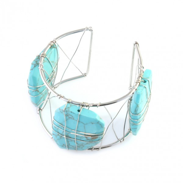 Organic Turquoise Stone Silver Wire Wrapped Cuff