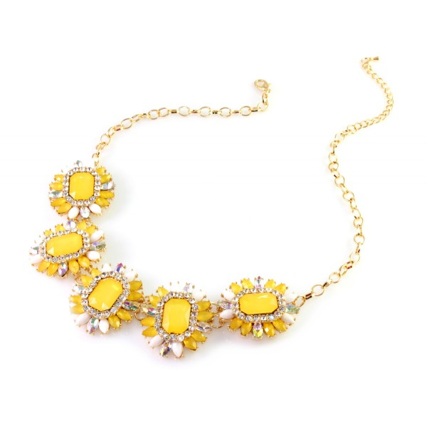 MIRARI Yellow Opal Foliage Marquise Stone Necklace