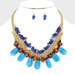 Blue Semi-Precious Stone Fragments Necklace