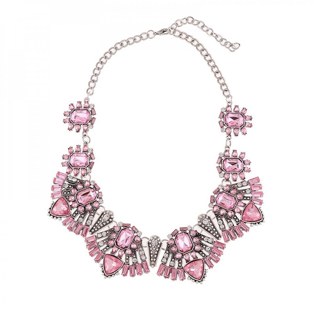 Rose Quartz Blush Art Deco Crystal Statement Bib Necklace