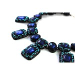 Aphra Sapphire Aqua Crystal Encrusted Statement Necklace