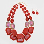 Red Indian Marble Fragment Double Row Statement Necklace
