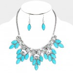 Azura Crystal Turquoise Floral Statement Necklace