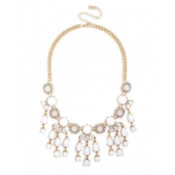 White Floral Fringe Bijoux Bauble Bib Necklace