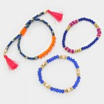 Electric Blue Tassel Charm Neon Beaded Multi-strand Bracelet Set