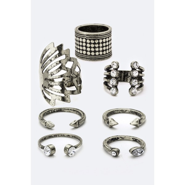 Aztec Boho Oxidized Silver Crystal Knuckle Open Rings Set