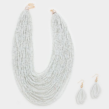 White Multi-Strand Boho Beaded Statement Necklace