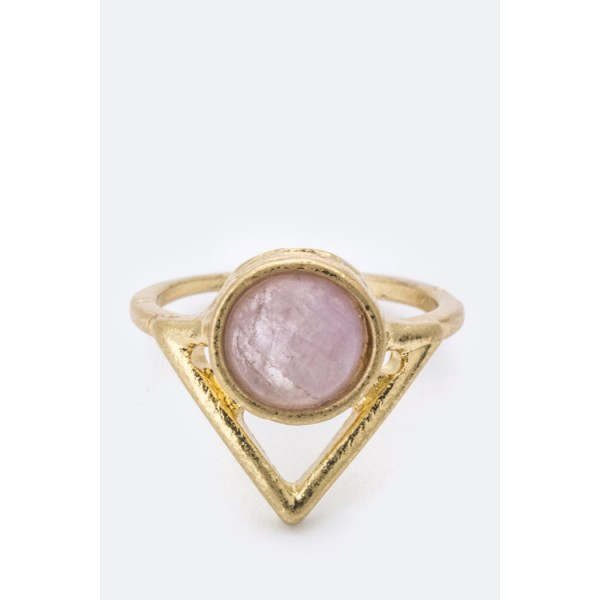 Lilac Semi Precious Stone Arrow Geo Ring