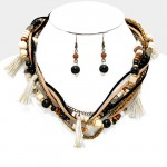Twisted Multi-Strand Beaded Faux Suede Necklace with Tassels