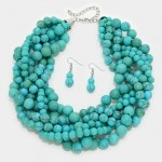 Awendela Twisted Turquoise Howlite Stone Strand Necklace